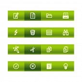 Green bar document icons. Vector file has layers, all icons in two versions are included.