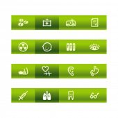 Green bar medicine icons. Vector file has layers, all icons in two versions are included.