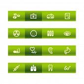 Green bar ícones da medicina. Arquivo de vetor tem camadas, estão incluídos todos os ícones em duas versões.