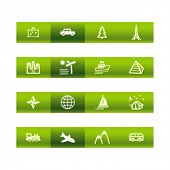 stock photo of cylinder pyramid  - Green bar travel icons - JPG