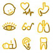 Série contorno do medicamento 2 ícones, ouro