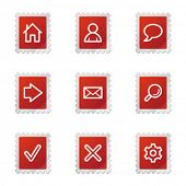 Web icons, red stamp series