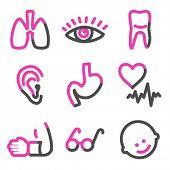 Série de contorno medicina 2 web ícones, rosa