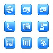Finance 2 web icons, blue glossy buttons series