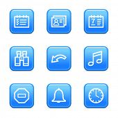 Organizer web icons, blue glossy buttons series