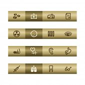 Iconos de la web de medicina en la barra de bronce. Archivo de Vector tiene capas, se incluyen todos los iconos en dos versiones.