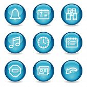 Organizer web icons, blue glossy sphere series