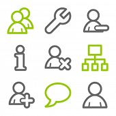 Users web icons, green and gray contour series