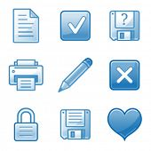 Document web icons, blue alfa series