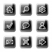 Basic web icons, black square glossy buttons series