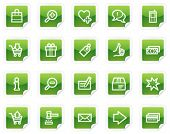 Shopping web icons, green sticker series