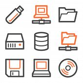 Drives and storage web icons, orange and gray contour series