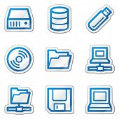 Drives and storage web icons, blue contour sticker series