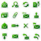 E-mail web icons, green sticker series