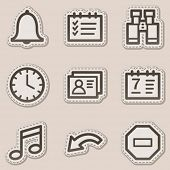 Organizer web icons, brown contour sticker series
