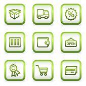 Compras web iconos conjunto 2, botones cuadrados, contorno verde