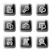 Immobilien Web-Icons, buttons schwarz quadratisch glänzend Serie