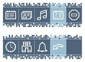 Blue dots bar with organizer web icons