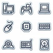 Computer web icons, deep blue contour sticker series