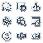 Conjunto de iconos Internet web 1, serie de la etiqueta engomada contorno azul profundo