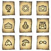 Travel web icons set 5, papyrus series