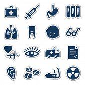 Medicine web icons, navy sticker series