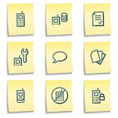 Mobile phone icons set 2, yellow notes series