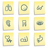 Medicine icons set 2, yellow notes series