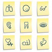 Conjunto de ícones de medicina 2, amarelo notas série