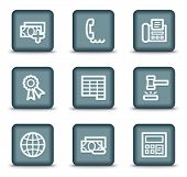 Finance web icons set 2, grey square buttons