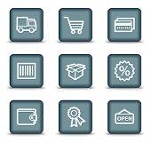 Einkaufen Web-Icons-Set 2, quadratische Tasten grau