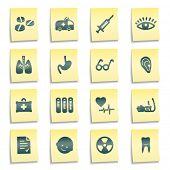 Ícones da web de medicina, amarelo Notas autocolantes