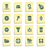 Server web icons, yellow notes stickers