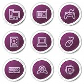 Computer web icons, purple stickers series