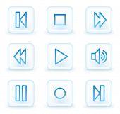 Walkman web icons, white square buttons