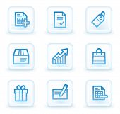 Shopping web icons set 1, white square buttons