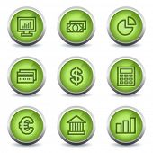Finance web icons set 1, green glossy set