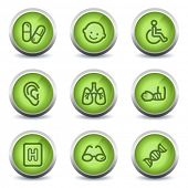 Medicine web icons set 2, green glossy set