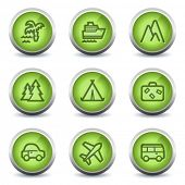 Travel web icons set 1, green glossy set