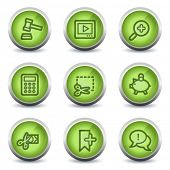 Shopping web icons set 3, green glossy set