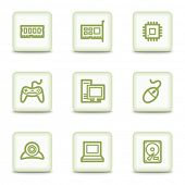 Computer Web Icons, weiß glossy buttons