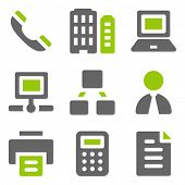 Office web icons, green grey solid icons