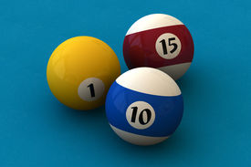 pic of pool ball  - Three pool balls on a blue billiard table  - JPG