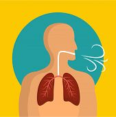 Breathing Lungs Icon. Flat Illustration Of Breathing Lungs Icon For Web Design poster