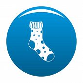Textile Sock Icon. Simple Illustration Of Textile Sock Icon For Any Design Blue poster