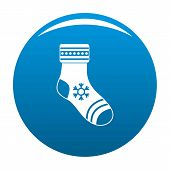 Christmas Sock Icon. Simple Illustration Of Christmas Sock Icon For Any Design Blue poster