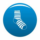 Fuzzy Sock Icon. Simple Illustration Of Fuzzy Sock Icon For Any Design Blue poster