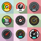 High Speed Icons Set. Flat Set Of 9 High Speed Vector Icons For Web Isolated On White Background poster