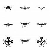Unmanned Icons Set. Simple Set Of 9 Unmanned Vector Icons For Web Isolated On White Background poster