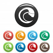 Wave Aqua Icon. Simple Illustration Of Wave Aqua Icons Set Color Isolated On White poster